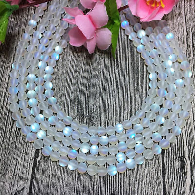 Natural 6//8//10mm White //Gray Gleamy Rainbow Moonstone Round Loose Beads 15/'/' AAA