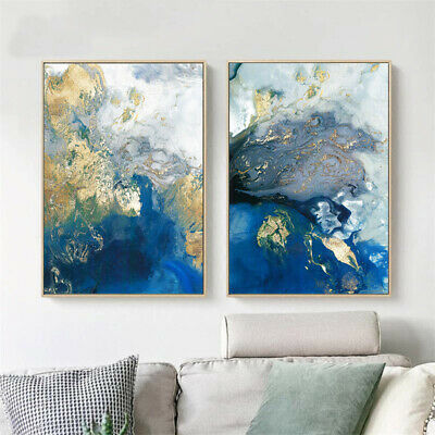 Golden Blue Abstract Poster Canvas Wall Art Abstract Print Modern Home Decor 4