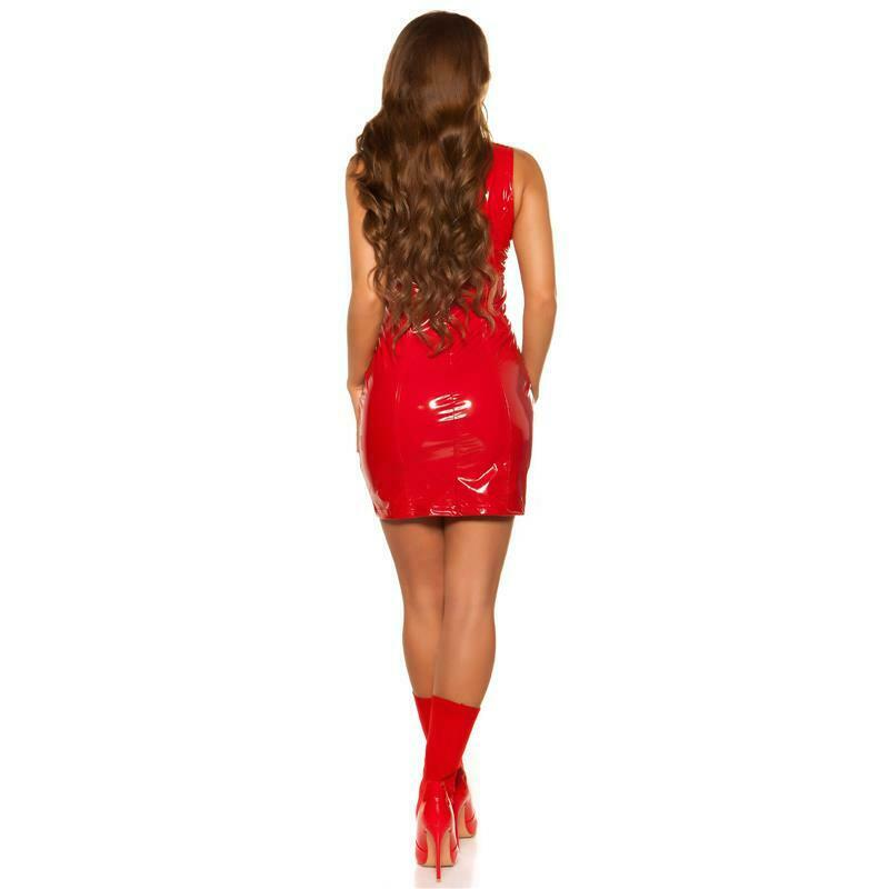 Sexy Club Minikleid in Latex-Look mit Stehkragen Rot #GW851 5
