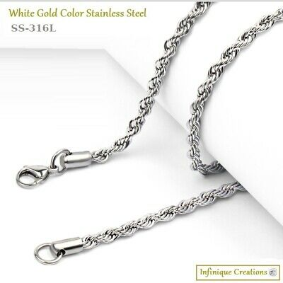 Men Women 316L Stainless Steel Silver Rope Chain Necklace Bracelet 2mm to 8mm 5