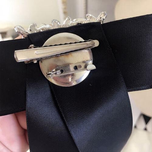 Vintage Women Ladies Large Bow Tie Necktie Ribbon Pendant Bow Collar Brooch Gift