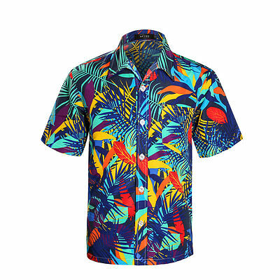 f00c7fe8 ... Mens Tropical Hawaiian Print Shirt Short Sleeve Beach Blue hawaiian  Aloha Shirts 3