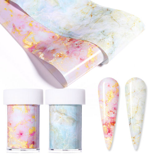 Candy Marble Nail Foils Glitter Foil Nail Art Transfer Stickers Decals Tips DIY 2