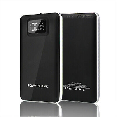Portable 50000mAh Power Bank 2USB LED LCD Slim Battery Charger for iPhone 7 8 6