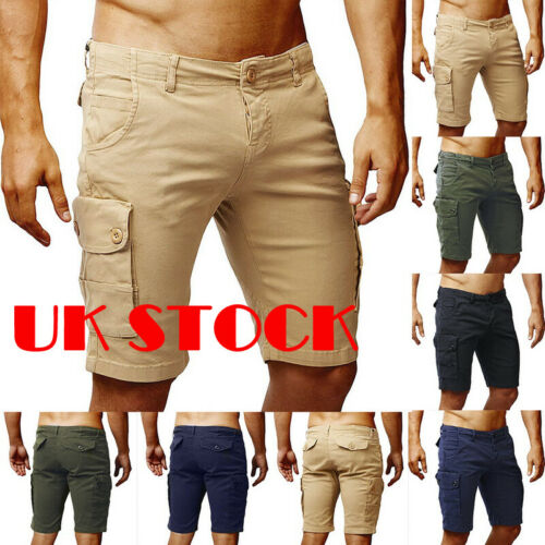 Mens Summer Casual Cotton Shorts Plain Army Cargo Combat Pants Beach Trousers UK