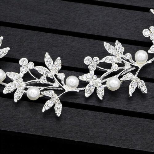 Silver Bendable Pearl Crystal Bridal Vine Wedding Headband Hair Accessories LE