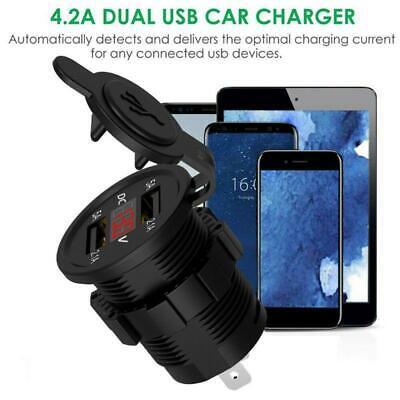 12V Car Cigarette Lighter Socket Dual USB Charger Splitter Adapter LED Voltmeter 7
