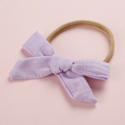 Kids Baby Toddler Cotton Linen Nylon Bow Headband Solid Hairband Hair Ring #N 11