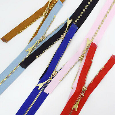 1Pc 20/40/50/60/70CM  Gold Teeth Metal Zips Sewing Zip Garment Accessories 12