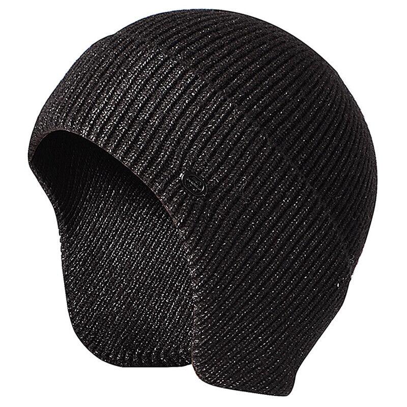 Uomo con Visiera Maglia Caldo Inverno Fodera Pile Cappello Berretto Paraorecchie 5