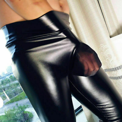 official site performance sportswear many styles SEXY MEN FAUX Leather Leggings Wet Look Long Pants Night Clubwear Tight  Trousers