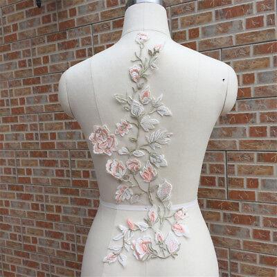 1Pc Flower Lace Applique Trim Wedding Bridal Embroidery Sew Crafts Motif DIY 3