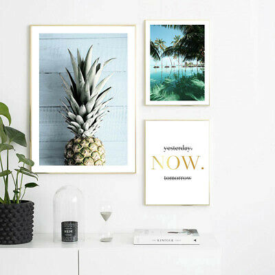 Pineapple Ocean Beach Canvas Poster Seascape Print Tropical Decoration Picture 3