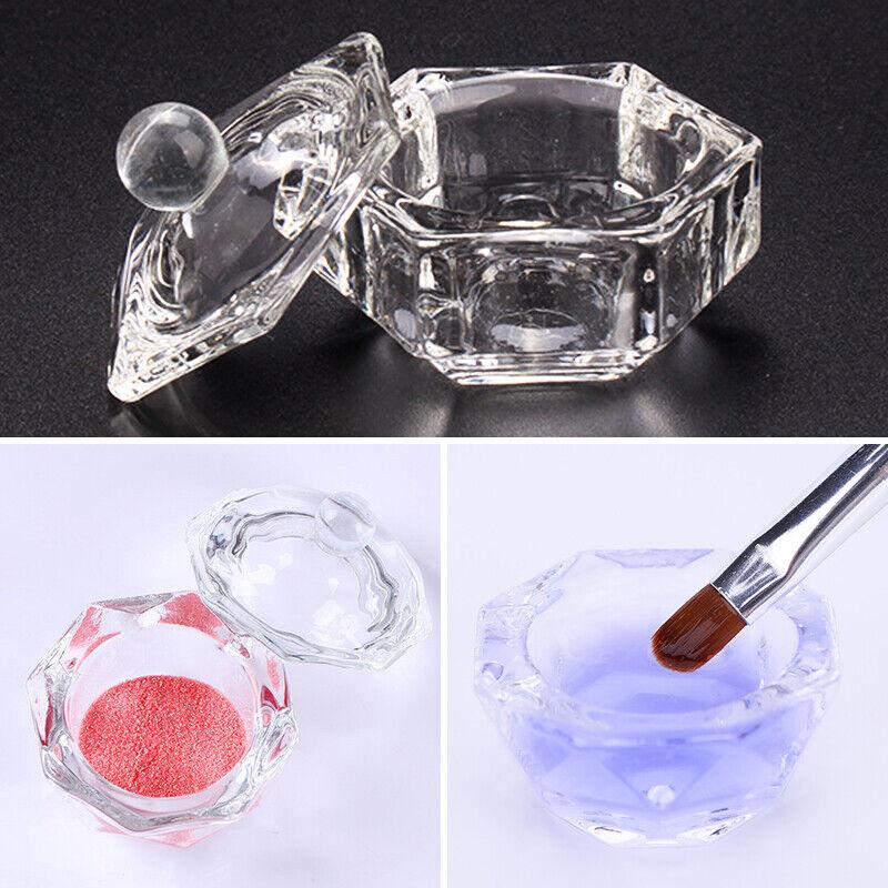 Crystal Glass Cup Acrylic Nail Powder Liquid Container Bowl Dish Nail Art Tool 5
