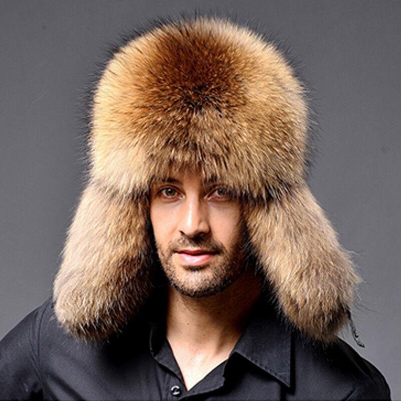 e07dd88c0d62c 1 of 5FREE Shipping Warm Winter Cap Raccoon Fur Russian Ushanka Cossack Trapper  Hat Earflap Ski 2019