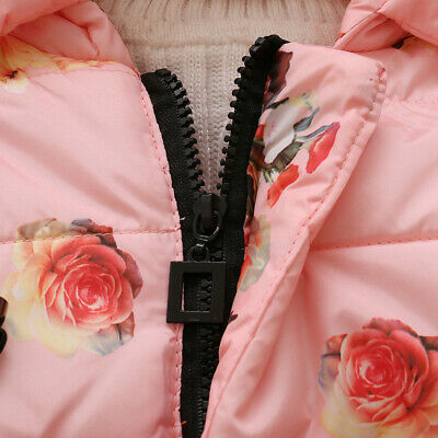 Toddler Baby Girls Floral Hooded Coat Outerwear Kids Jackets Warm Winter Clothes 8