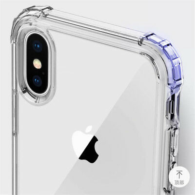 For iPhone XS Max XR X 8 7 6 5 Shockproof Bumper Transparent Silicone Case Cover 8