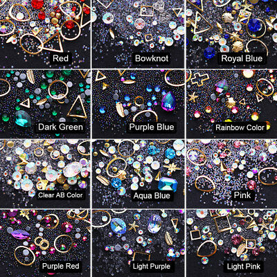 1728pcs Nail Art Rhinestones Glitter Diamonds Crystal Gems 3D Tips Decorations 11