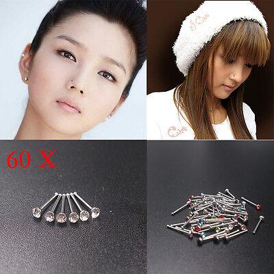 10x strass acier inox vis nez cerceau anneau goujon piercing vo GL