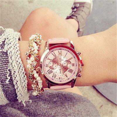 New Fashion Geneva Women Leather Band Stainless Steel Quartz Analog Wrist Watch 3