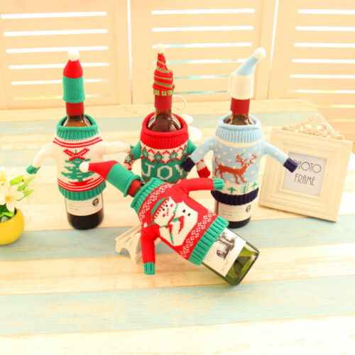 Wine Bottle Cover Bag Knitted Sweater Hat Gift Bag Christmas Tree Party Decor 2