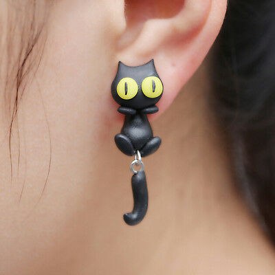 1 Pair Fashion Jewelry Women's 3D Animal Cat Polymer Clay Ear Stud Earring J&S 3