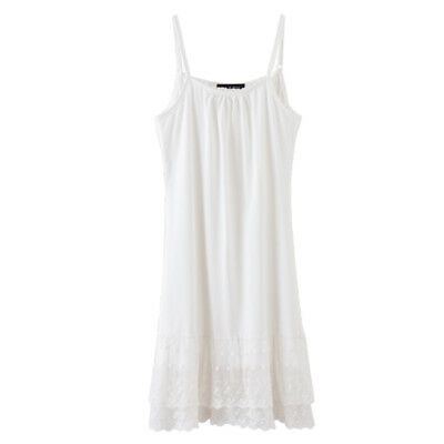Lady Lace Mesh Sleeveless Strappy Cami Dress Petticoat Full Slip Long Vest Tank