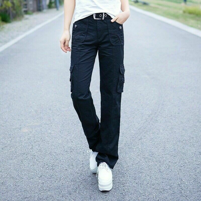 Lady Cargo Trousers Combat Pants Pockets Military Army Slim Straight Leg Classic 6