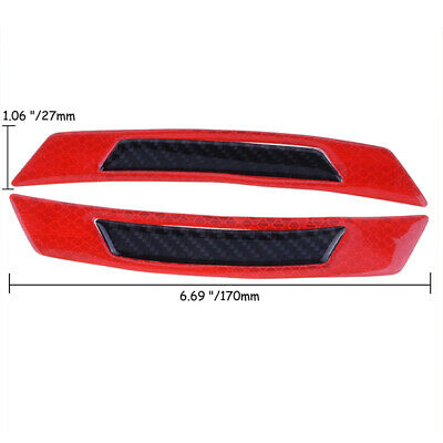 2PCS Red Reflective Carbon Fiber Car Side Door Edge Protector Guard Sticker 2