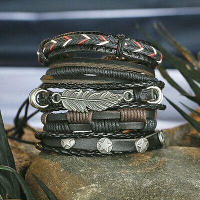 6pcs/set Multilayer Leather Bracelet Handmade Men Women Wristband Bangle Gifts 6