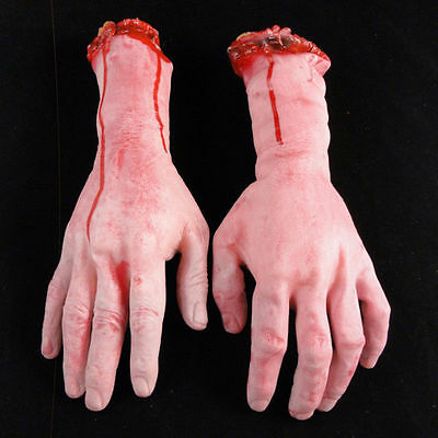 1Pair Bloody Horror Scary Halloween Props Fake Severed Arm Hand Haunted Decor US 2
