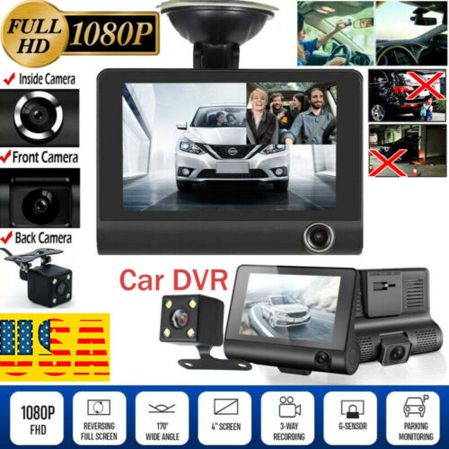 "1080P 4""Car DVR Dual Lens Dash Cam Front and G-sensor Rear Video Recorder Camera 2"