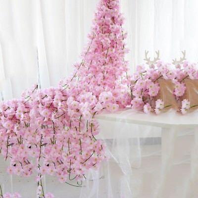 2m Artificial Cherry Blossoms Rattan Sakura For Wedding Arch Hanging Wreath Deco 3