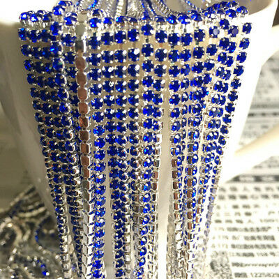 Wholesale 1-Row SS8 Cystal Rhinestone Trim Close Cup Chain Claw Jewelry Crafts 12