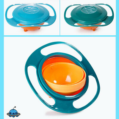 Baby Kids Infant Feeding Dishes Gyro Bowl Universal 360 Rotate Spill Proof Bowl 6