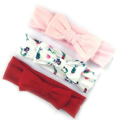 3Pcs Cotton Stretchy Knotted Ear Headbands Hair Band for Baby Girl Newborn New 4