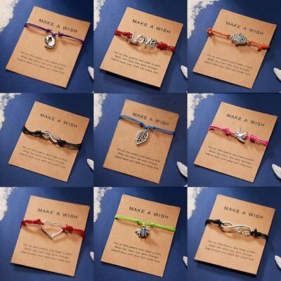 Wish String Charm Adjustable Bracelet 'Make A Wish' Friendship Heart Gift Card 4