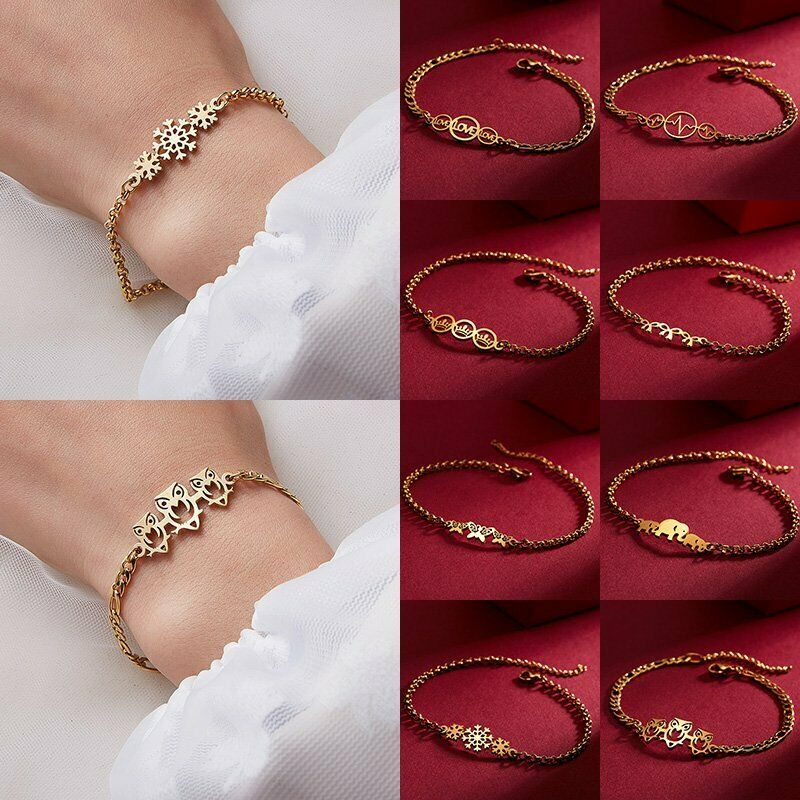 Mother Gold Stainless Steel Love Heart Women Cuff Bracelet Bangle Family Jewelry 4
