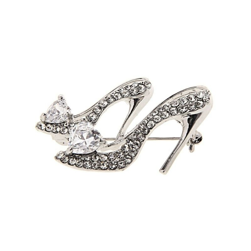 Hot Crystal Rhinestone Broaches High Heeled Shoes Brooch Pins Party Accessories 4
