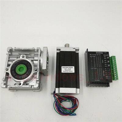 Nema23 3NM Stepper Motor Driver Kit 4.2A & Worm Gearbox Speed Reducer 30:1 CNC 9