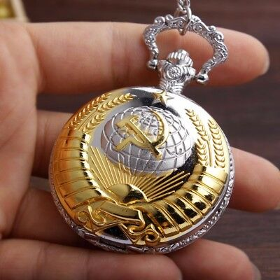 Soviet Pocket Watch Necklace Mens Clock Union USSR Moscow Vintage Putin Russia 12