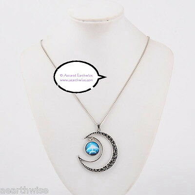 CRESCENT MOON WITH GLASS GALAXY CABOCHON PENDANT J Wicca Witch Pagan Goth