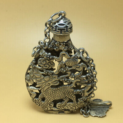 chinese Tibetan silver old copper hand carved Kirin phoenix statue snuff bottle 2