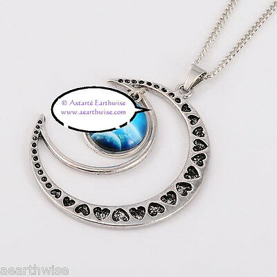 CRESCENT MOON WITH GLASS GALAXY CABOCHON PENDANT G Wicca Witch Pagan Goth 6