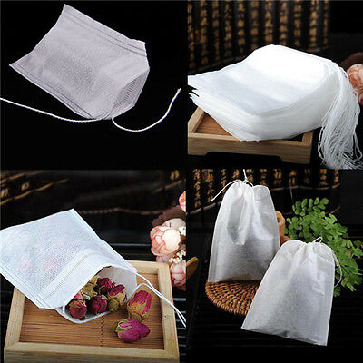 100x vides sacs à thé ficelle chaleur filtre papier filtre à thé sachets de thé^ 5