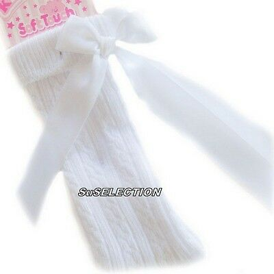 Girls & Toddler Bow Ribbon Socks 18 M'th-2/6 Years-White/Red/Navy/Beige/Pink-New 5