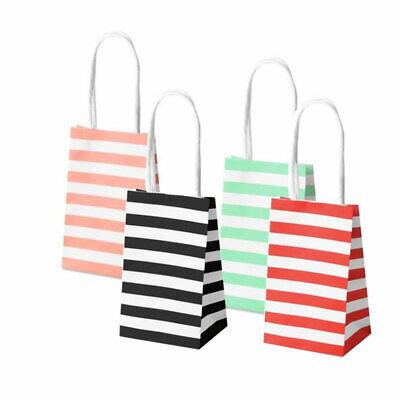 10-50PCS Cross Stripe Paper Party Loot Bags Handles Wedding Birthday Gift Bags 2
