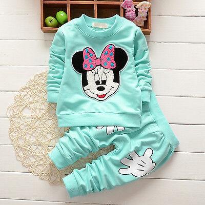 Enfants Bébé Filles Vêtements Minnie Mouse Pull Hauts + Pantalon Jogging Tenues 6