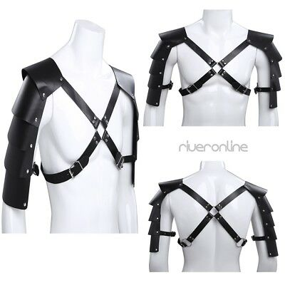 Herren Kunstleder Schulter Brust Geschirr Einstellbare Körper Harness mit Nieten 2