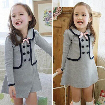 Kids Girls Long Sleeve Princess Dress Tops Tunika Skirt Spring Clothes Age 2-9Y 10